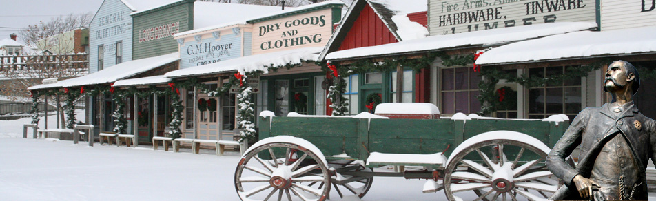 Winter scene at Boot Hill Museum