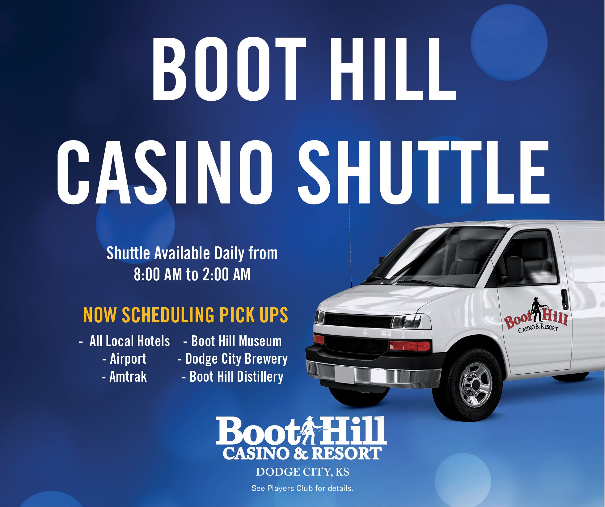 Boot Hill Casino & Resort Shuttle Service